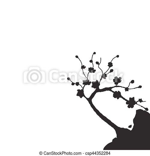 Silueta Cliff Cerezo Japonés Ilustración Aislado Sakura