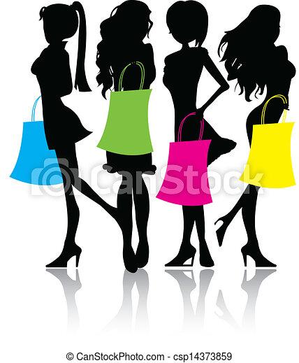 Siluetas comprando chicas - csp14373859