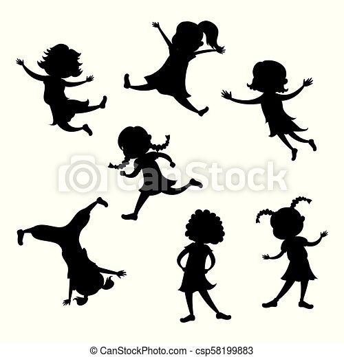 Silueta de dibujos animados, poses de acción diferentes - csp58199883