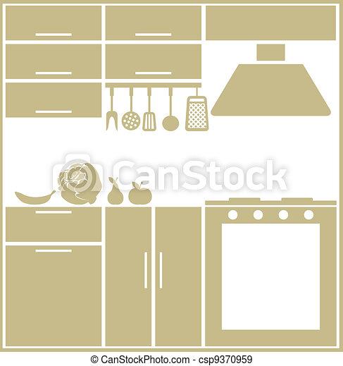 silueta, cozinha - csp9370959