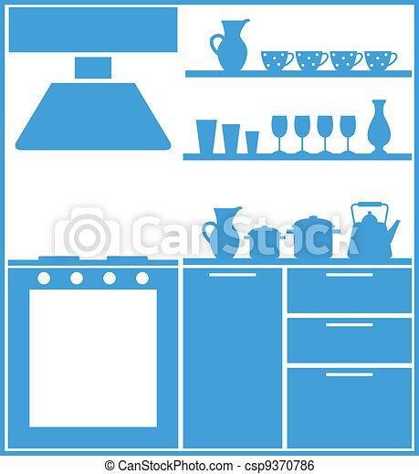 silueta, cozinha - csp9370786