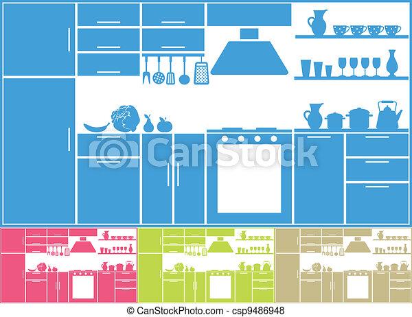 silueta, cozinha - csp9486948