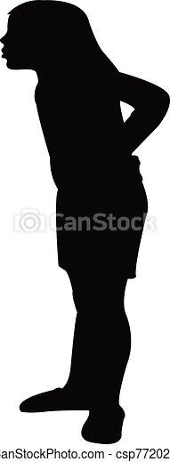 silueta, cuerpo, niña, vector - csp77202258