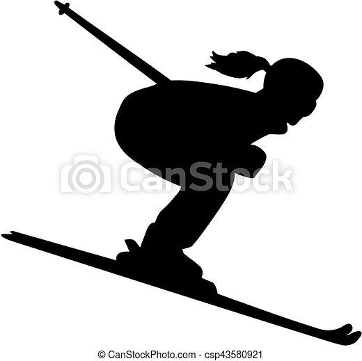 Silueta de esquí femenina cuesta abajo - csp43580921