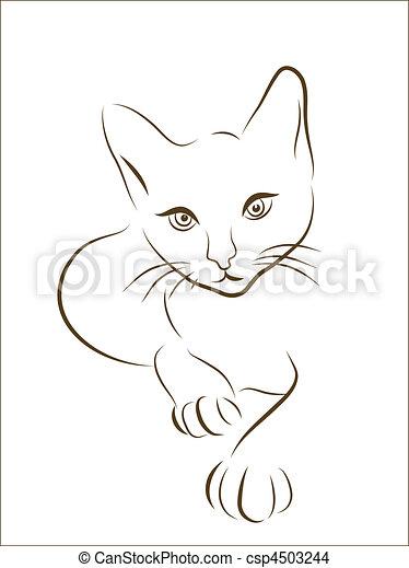 silueta, gato - csp4503244