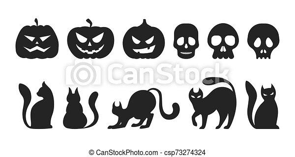 Silueta negra de gato y calabaza. Colección de Halloween - csp73274324