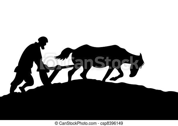 silueta, ilustração, fundo, camponês, vetorial, branca - csp8396149