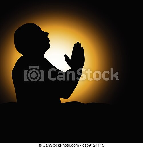 silueta, ilustração, vetorial, pretas, orando, homem - csp9124115