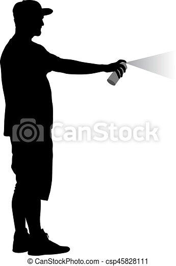 Silueta sosteniendo un spray en un fondo blanco. Ilustración de vectores - csp45828111