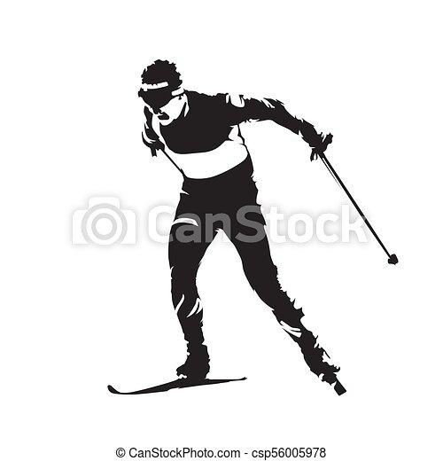 Esquí en el campo, deporte de invierno individual. Silueta de vector abstracto Skier - csp56005978