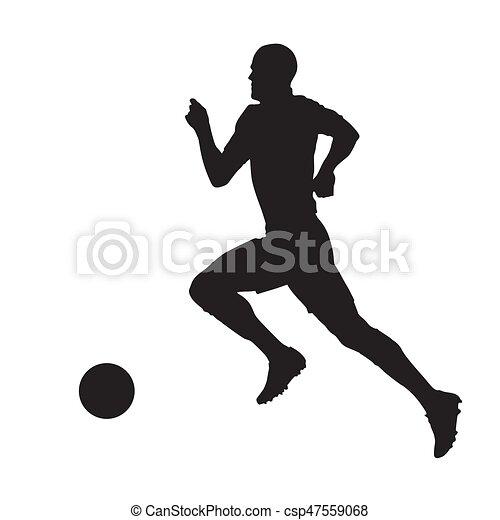 Jugador de fútbol, vector silueta, vista lateral - csp47559068
