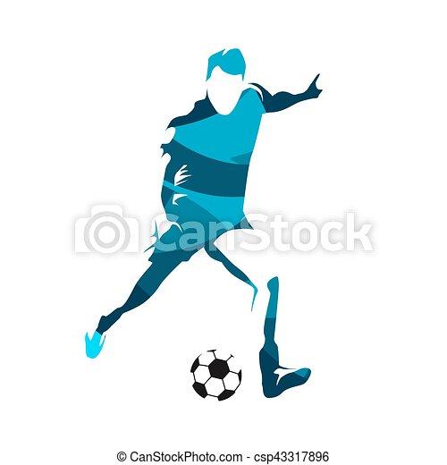 Jugador de fútbol abstracto pateando pelota, vector silueta - csp43317896