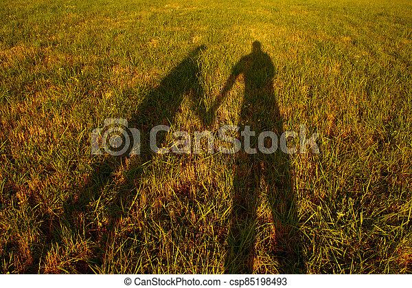 silueta, majetek, stín, dvojice, ruce, louka, západ slunce - csp85198493