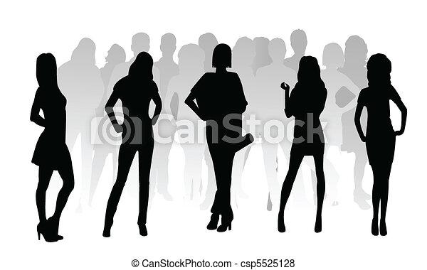 silueta, moda, meninas - csp5525128