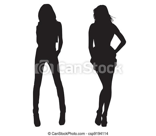 Chicas de moda silueta - csp9194114