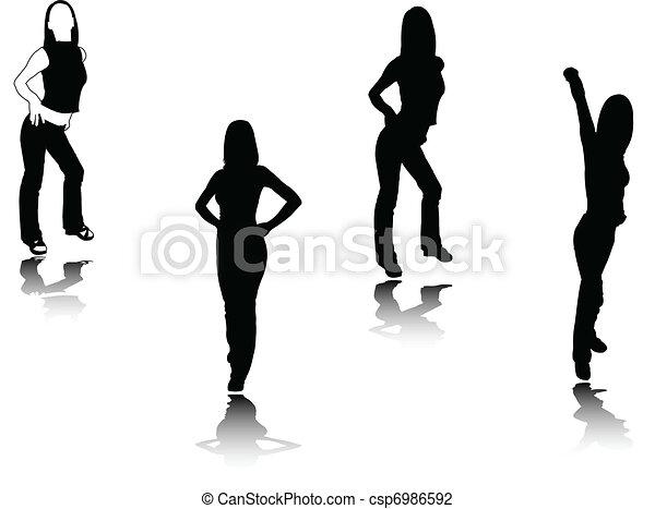Chica silueta, vector - csp6986592