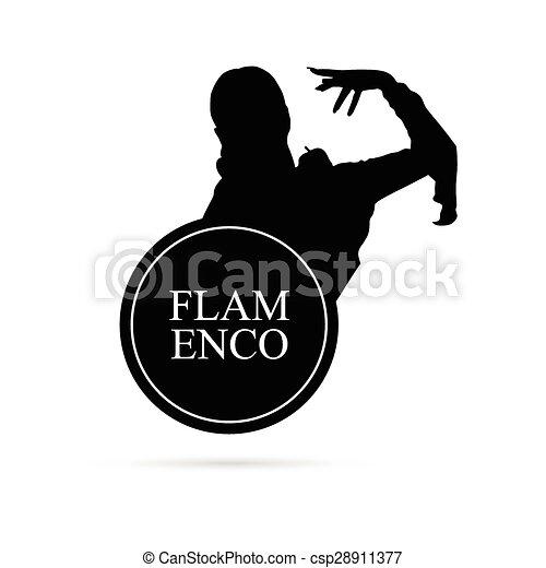 Silueta de vector de chica Flamenco - csp28911377