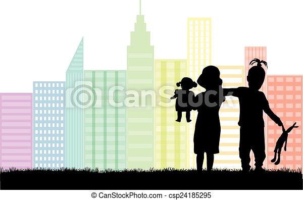Silueta de niños - csp24185295