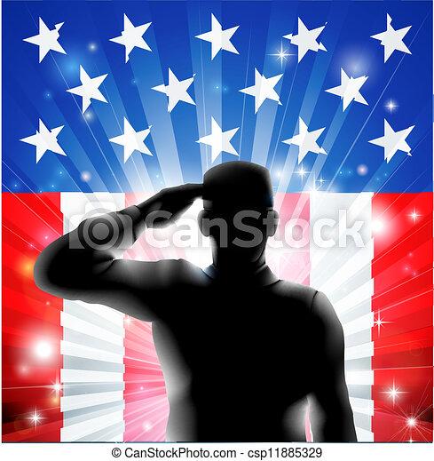 Soldado militar de la bandera de EE.UU. saludando en silueta - csp11885329