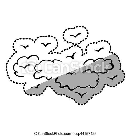 silueta nuvens contorno pássaros silueta ilustração contorno