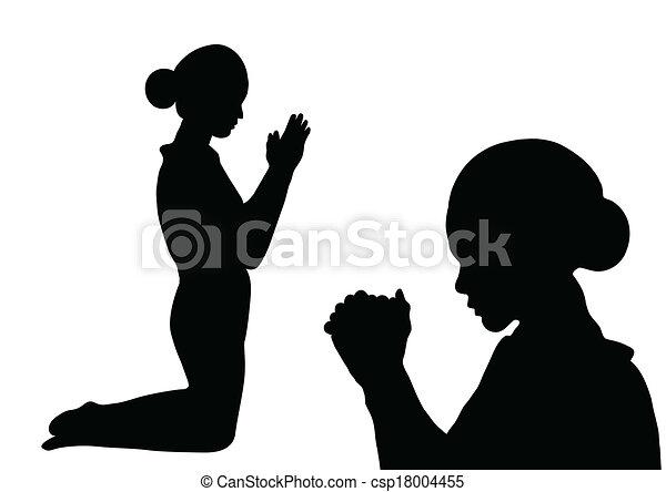silueta, oração - csp18004455