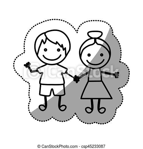 Silueta, pegatina, niños, dibujado, mano, pareja. Silueta, pegatina ...