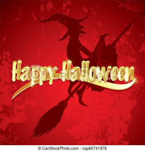 Antecedentes de Halloween con silueta de bruja voladora - csp60741976