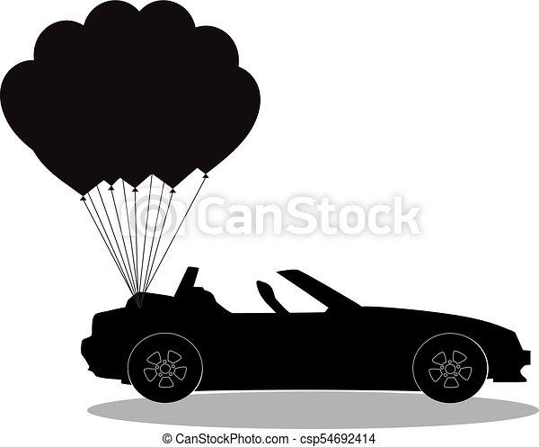 silueta, pretas, cabriolé, balões, branca, car, aberta - csp54692414
