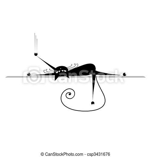 silueta, relax., gato, pretas, desenho, seu - csp3431676