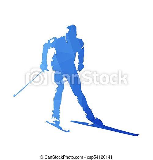 Esquí de campo a través, silueta de vector geométrico abstracto - csp54120141