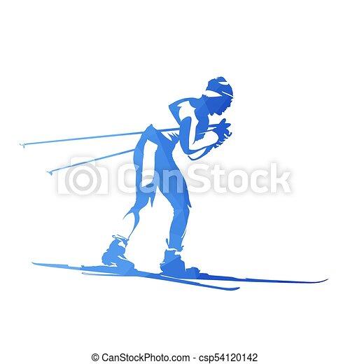 Esquí de campo a través, silueta de vector geométrico abstracto - csp54120142