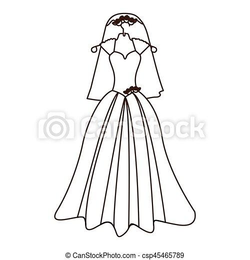 Vestido de silueta y novia de velo con rosas - csp45465789