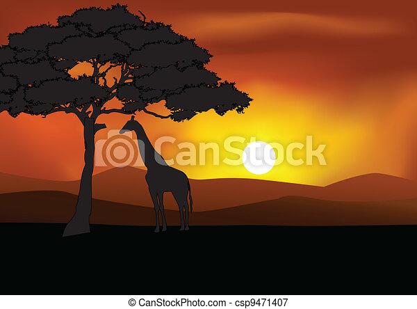 Silueta de fondo Safari - csp9471407