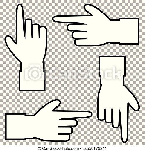 Silueta blanca de mano con el dedo apuntando en varias direcciones. - csp58179241