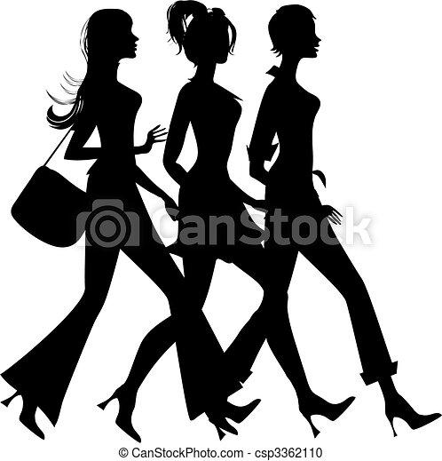 silueta, shopping, três meninas - csp3362110