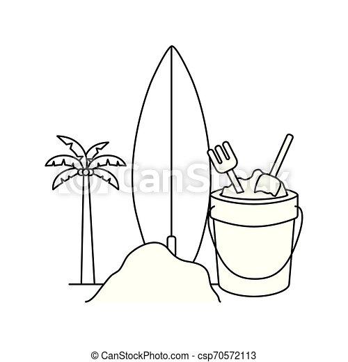 Silueta de palmera con tabla de surf en fondo blanco - csp70572113