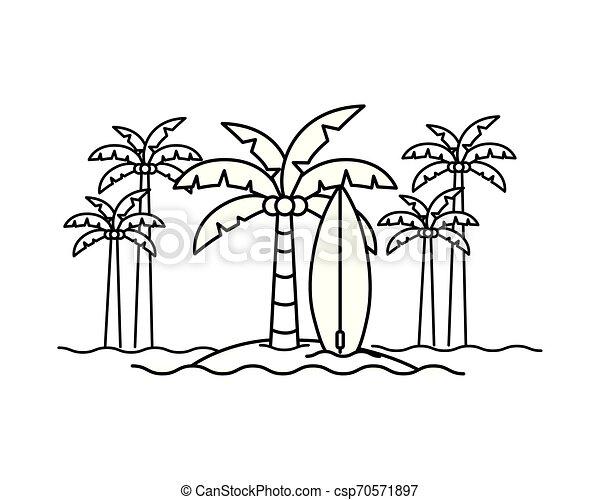 Silueta de palmera con tabla de surf en fondo blanco - csp70571897