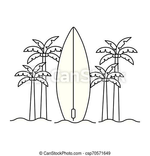 Silueta de palmera con tabla de surf en fondo blanco - csp70571649
