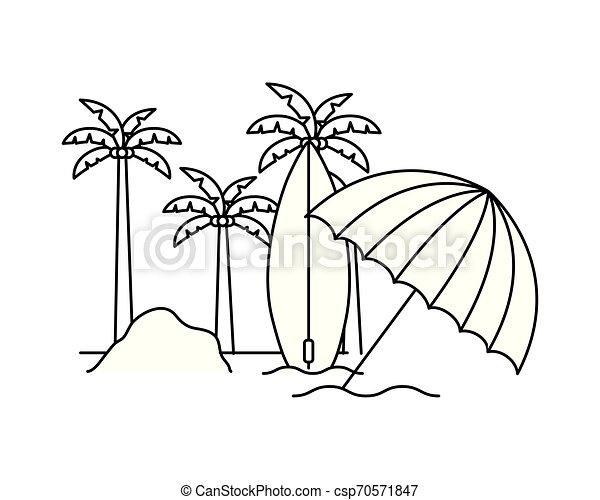 Silueta de palmera con tabla de surf en fondo blanco - csp70571847