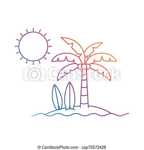Silueta de palmera con tabla de surf en fondo blanco - csp70572428