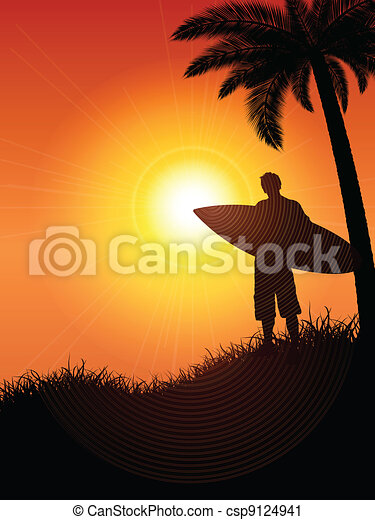 Surfer silueta - csp9124941