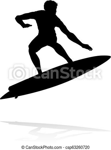 Silueta Surfer - csp63260720