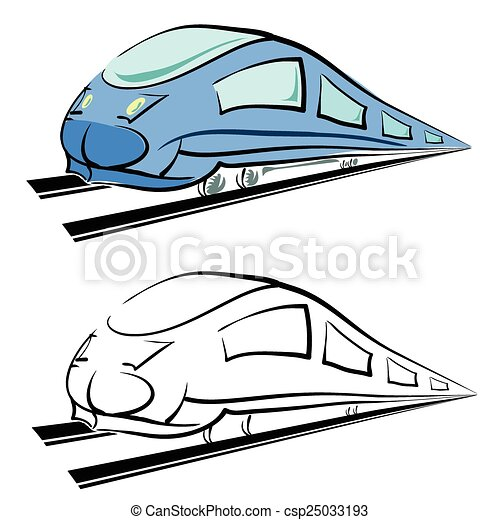 silueta, trem, modernos - csp25033193