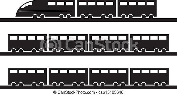 silueta, trem - csp15105646