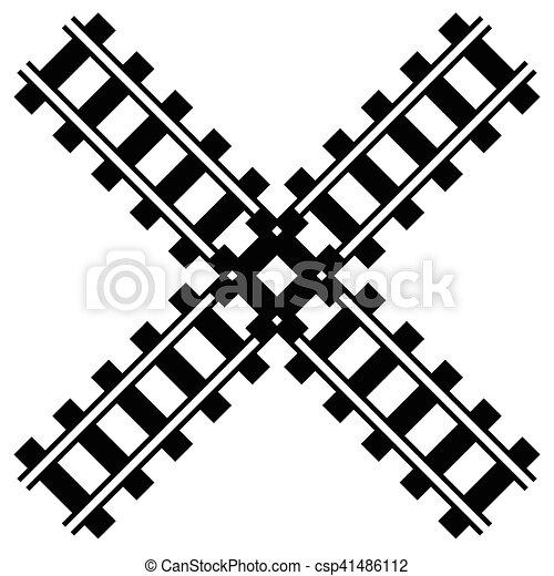 silueta, trilha grade, ilustração, w, estrada ferro, estrada - csp41486112