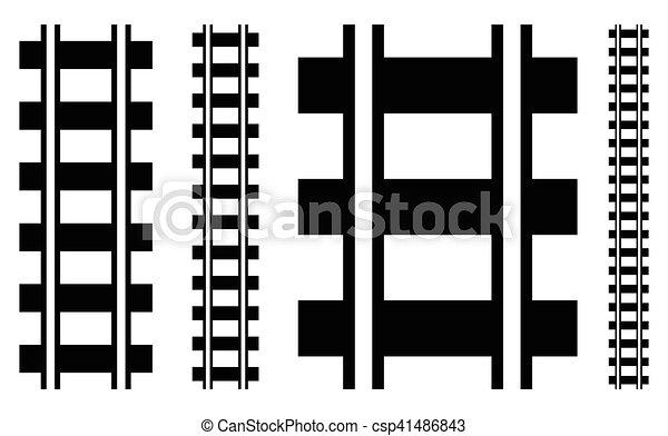 silueta, trilha grade, ilustração, w, estrada ferro, estrada - csp41486843