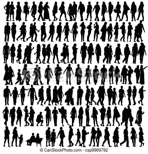 silueta, vector, negro, gente - csp9969792