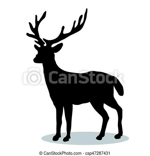 Silueta, venado, bosque, animal, negro. Silueta, bosque, venado ...