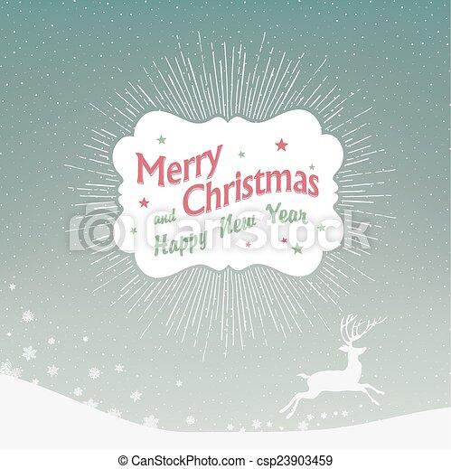 Historial de Navidad con nieve cayendo y silueta de ciervos - csp23903459