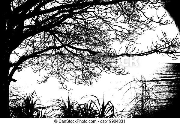 silueta, vendimia, árbol, vector, sea., solamente - csp19904331